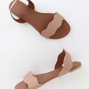 Qupid blush flat slingback sandals 5.5